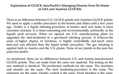 Explanation of GLOCK Asia-Pacific's Managing Director Sven De Souter on USA and Austrian GLOCKS